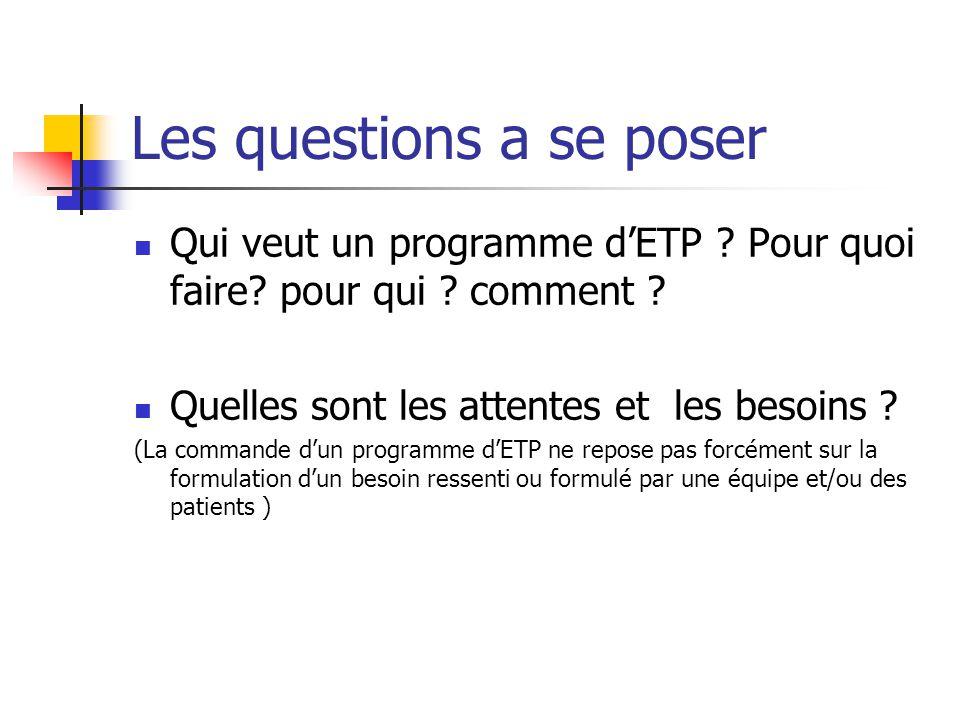 Les questions a se poser Qui veut un programme dETP ? Pour quoi faire? pour qui ? comment ? Quelles sont les attentes et les besoins ? (La commande du