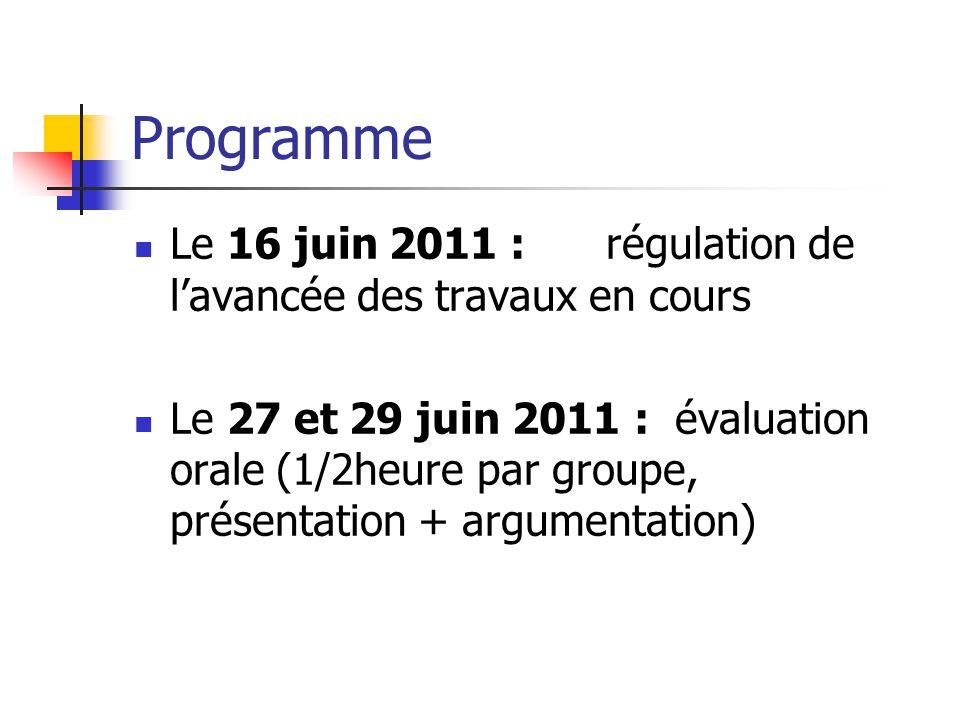 Programme Le 16 juin 2011 : régulation de lavancée des travaux en cours Le 27 et 29 juin 2011 : évaluation orale (1/2heure par groupe, présentation +
