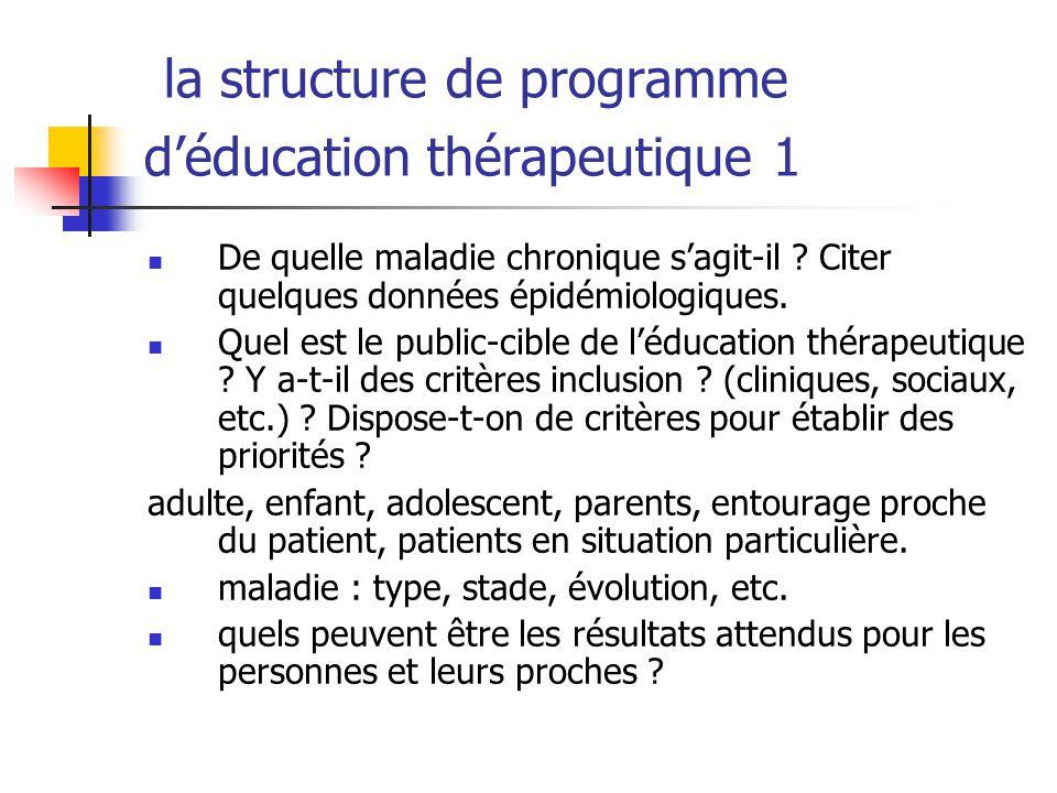 la structure de programme déducation thérapeutique 1 De quelle maladie chronique sagit-il ? Citer quelques données épidémiologiques. Quel est le publi