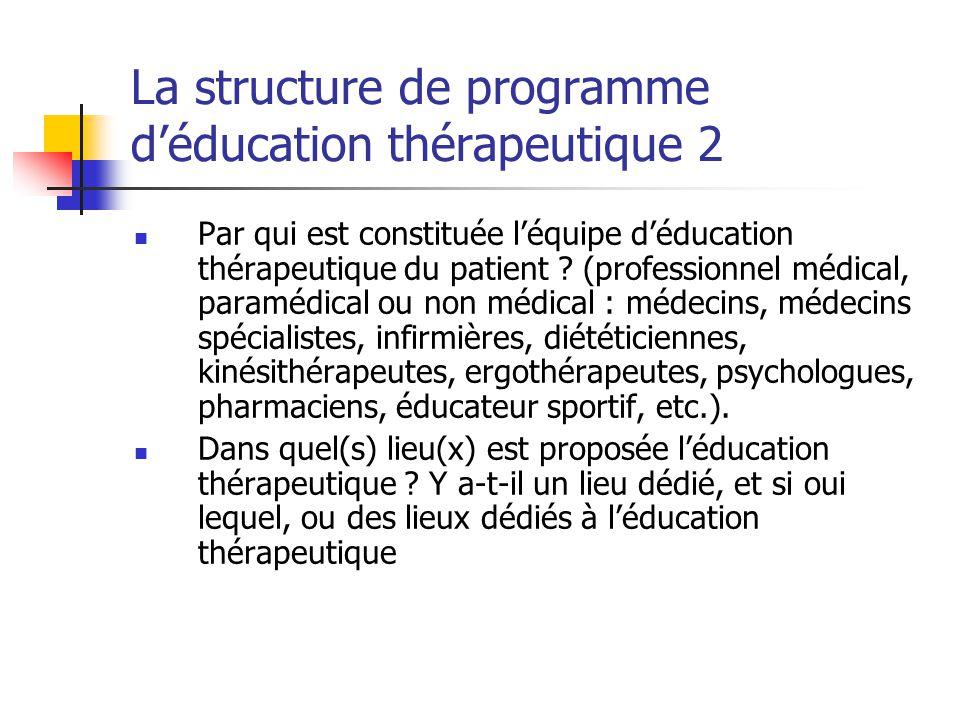 La structure de programme déducation thérapeutique 2 Par qui est constituée léquipe déducation thérapeutique du patient ? (professionnel médical, para