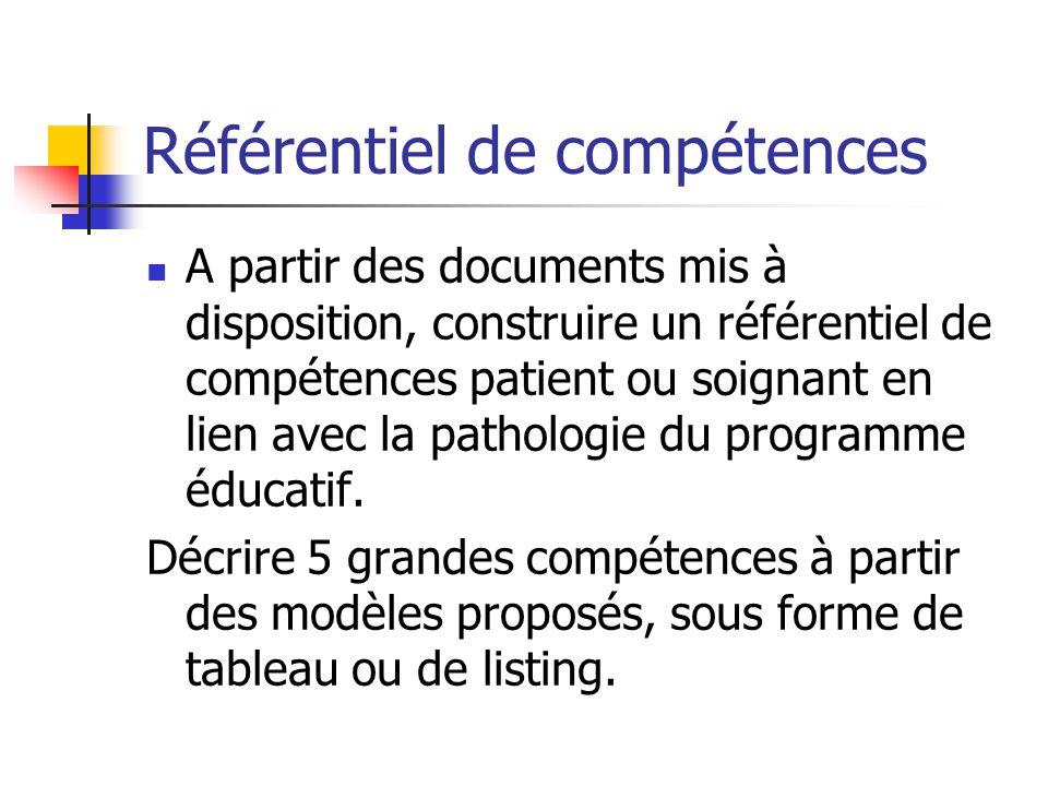 Référentiel de compétences A partir des documents mis à disposition, construire un référentiel de compétences patient ou soignant en lien avec la path