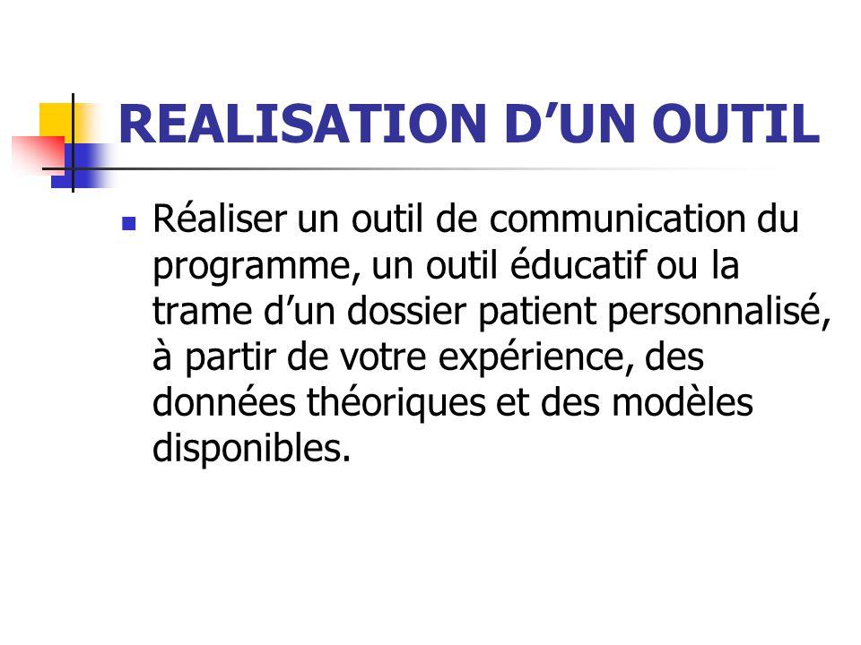 REALISATION DUN OUTIL Réaliser un outil de communication du programme, un outil éducatif ou la trame dun dossier patient personnalisé, à partir de vot