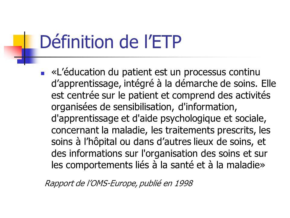 Définition de lETP «Léducation du patient est un processus continu dapprentissage, intégré à la démarche de soins. Elle est centrée sur le patient et