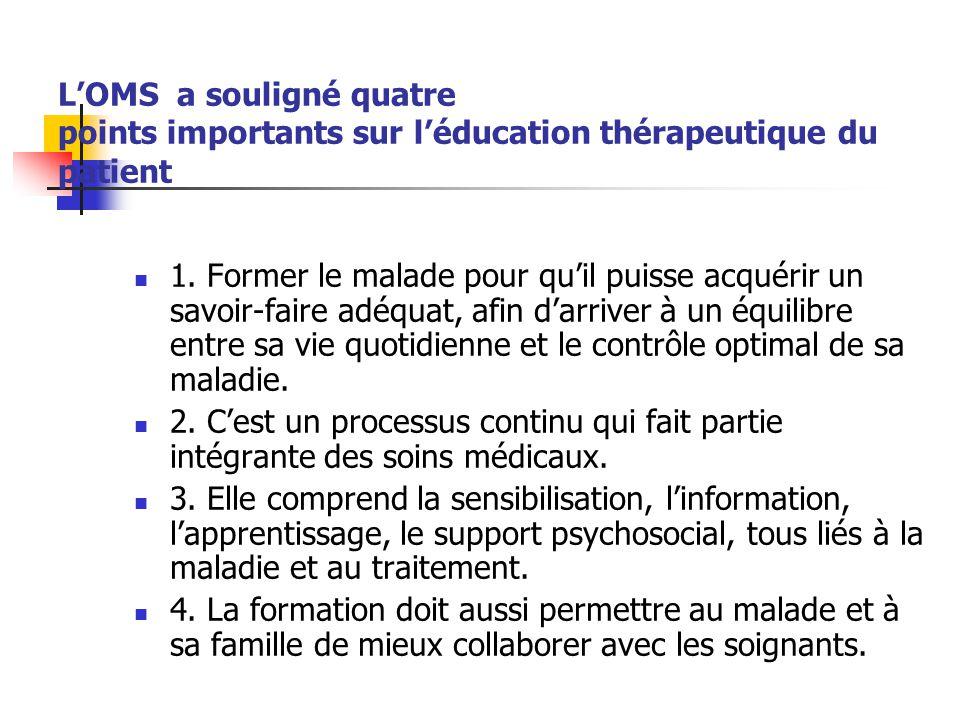 LOMS a souligné quatre points importants sur léducation thérapeutique du patient 1. Former le malade pour quil puisse acquérir un savoir-faire adéquat
