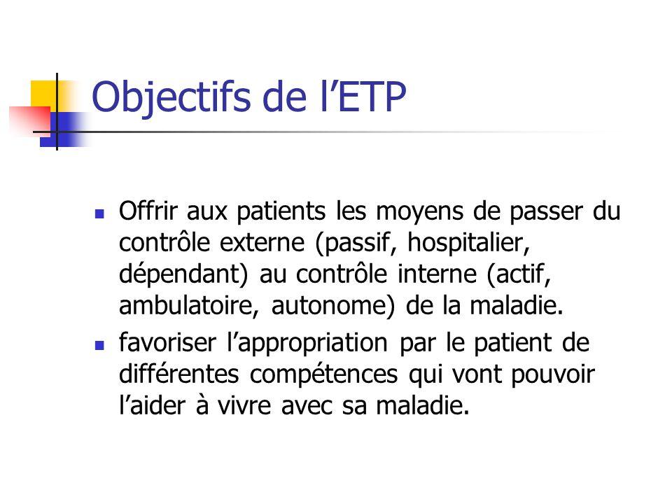 Objectifs de lETP Offrir aux patients les moyens de passer du contrôle externe (passif, hospitalier, dépendant) au contrôle interne (actif, ambulatoir