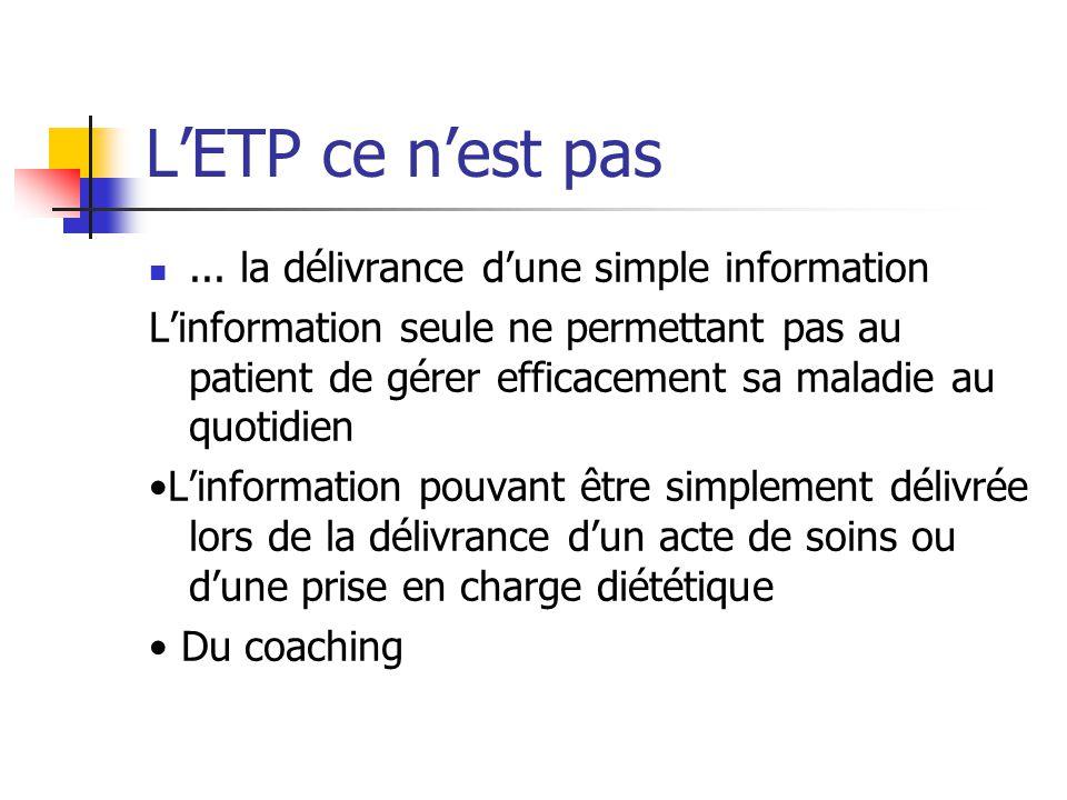 LETP ce nest pas... la délivrance dune simple information Linformation seule ne permettant pas au patient de gérer efficacement sa maladie au quotidie