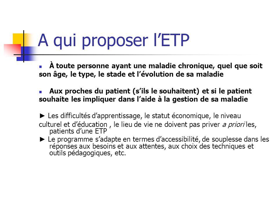 Les questions a se poser Qui veut un programme dETP .