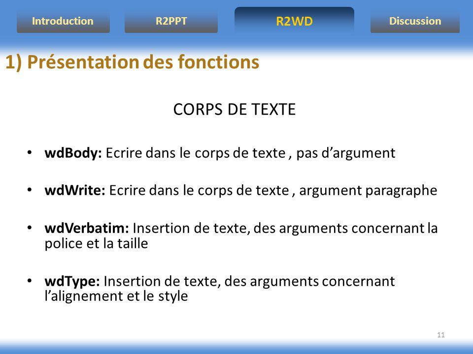 R2WD R2PPT Introduction Discussion 11 CORPS DE TEXTE wdBody: Ecrire dans le corps de texte, pas dargument wdWrite: Ecrire dans le corps de texte, argu