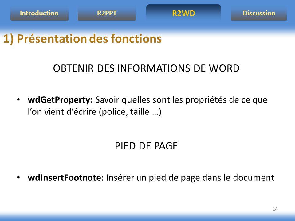 R2WD R2PPT Introduction Discussion 14 OBTENIR DES INFORMATIONS DE WORD wdGetProperty: Savoir quelles sont les propriétés de ce que lon vient décrire (
