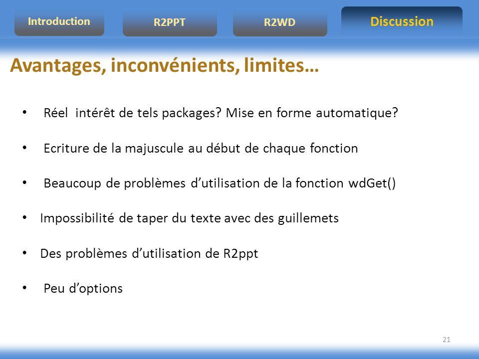 Discussion R2PPTR2WD Introduction 21 Avantages, inconvénients, limites… Réel intérêt de tels packages.
