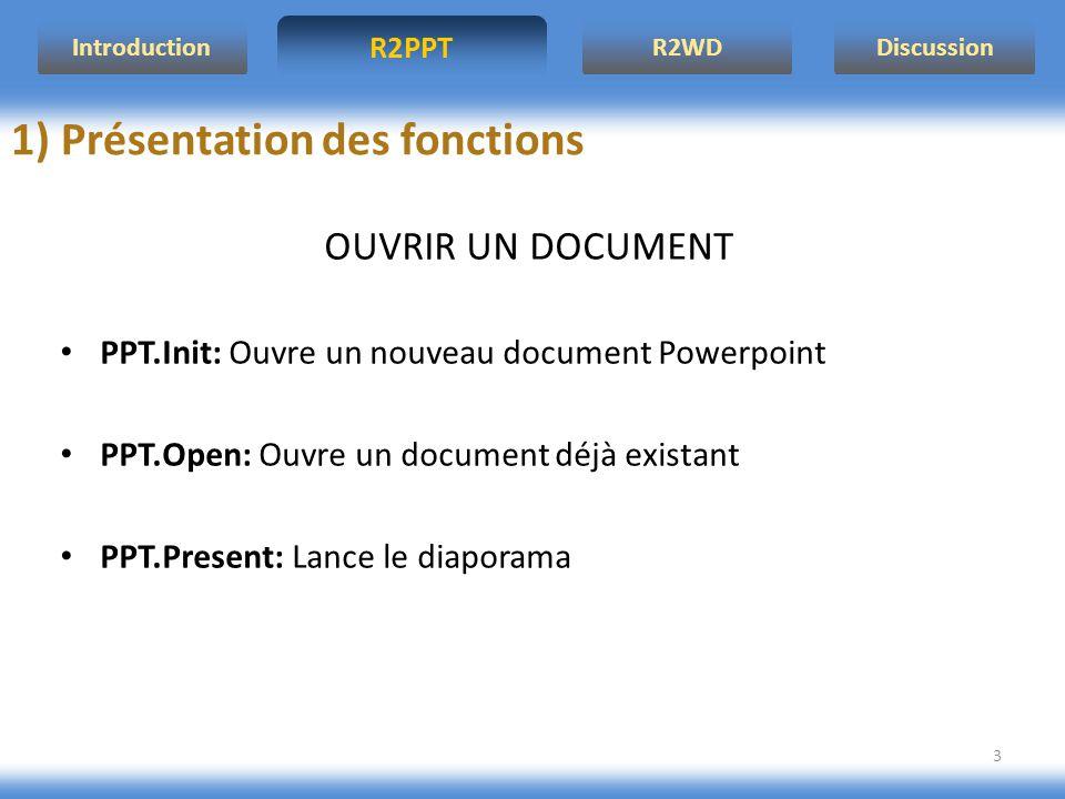 R2PPT IntroductionR2WDDiscussion 3 1) Présentation des fonctions OUVRIR UN DOCUMENT PPT.Init: Ouvre un nouveau document Powerpoint PPT.Open: Ouvre un