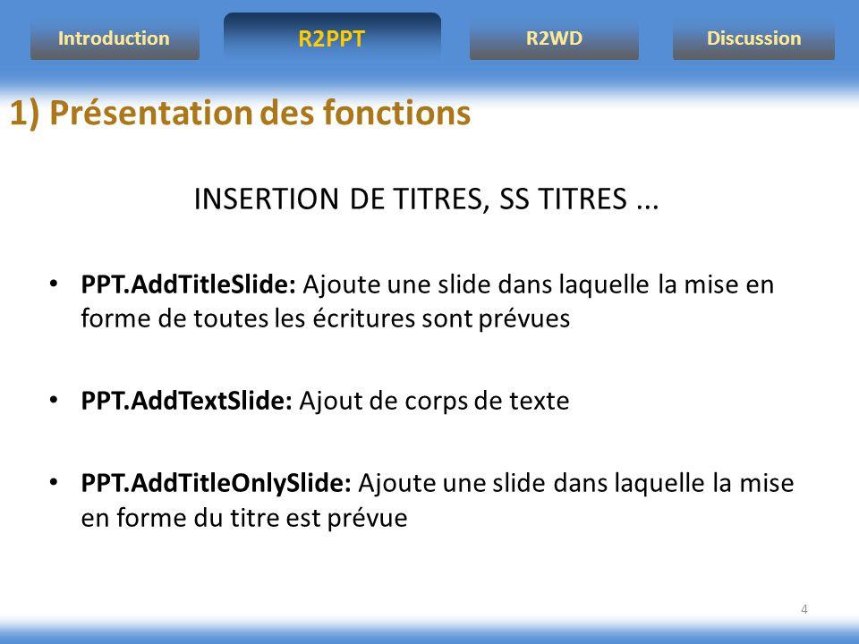 R2PPT IntroductionR2WDDiscussion 4 1) Présentation des fonctions INSERTION DE TITRES, SS TITRES... PPT.AddTitleSlide: Ajoute une slide dans laquelle l