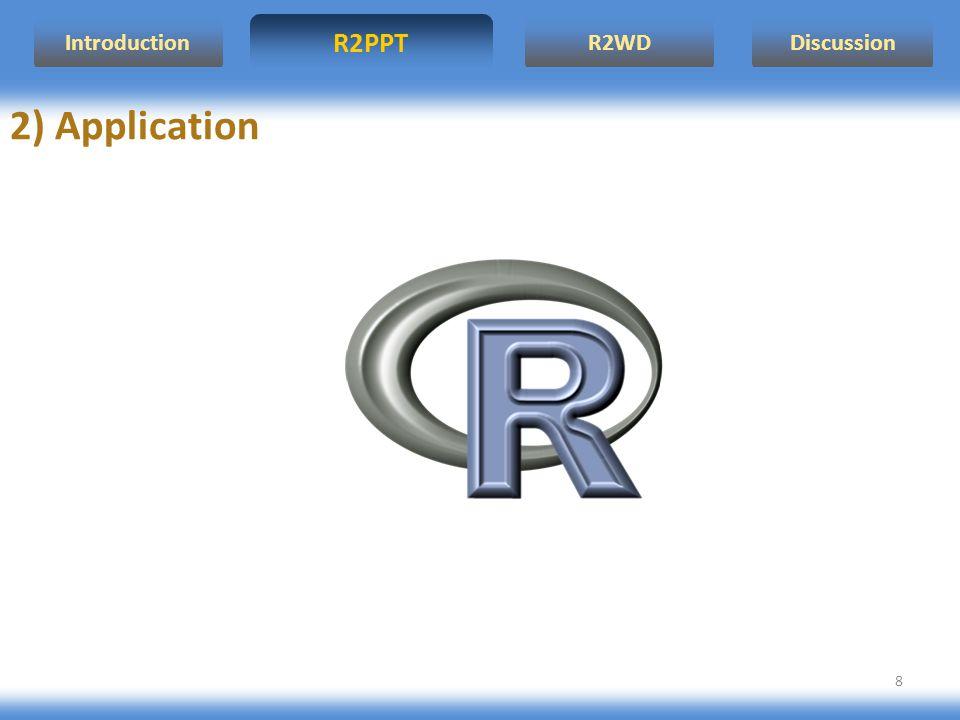 R2WD R2PPT Introduction Discussion 9 OUVRIR UN DOCUMENT wdGet: Ouvre un nouveau document Word si Word n est pas déjà ouvert ou un document déjà existant wdNewDoc: Ouvre un nouveau document, quand Word est déjà ouvert 1) Présentation des fonctions