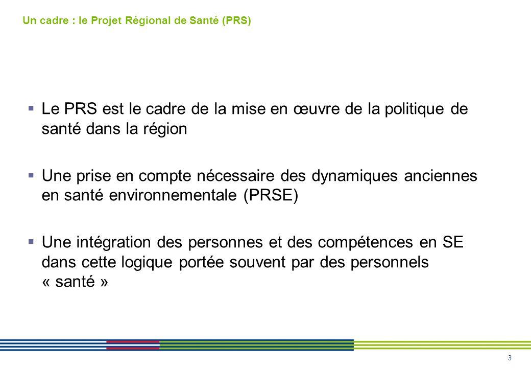 3 Un cadre : le Projet Régional de Santé (PRS) Le PRS est le cadre de la mise en œuvre de la politique de santé dans la région Une prise en compte nécessaire des dynamiques anciennes en santé environnementale (PRSE) Une intégration des personnes et des compétences en SE dans cette logique portée souvent par des personnels « santé »