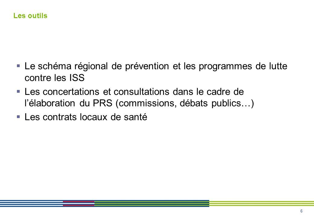 6 Les outils Le schéma régional de prévention et les programmes de lutte contre les ISS Les concertations et consultations dans le cadre de lélaboration du PRS (commissions, débats publics…) Les contrats locaux de santé