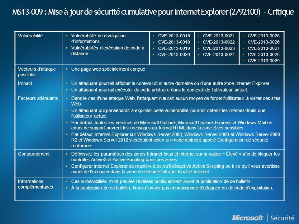 MS13-010 : Introduction et indices de gravité NuméroTitre Indice de gravité maximal Produits affectés MS13-010 Une vulnérabilité dans VML (Vector Markup Language) pourrait permettre l exécution de code à distance (2797052) Critique Internet Explorer 6.0 Windows XP et Windows Server 2003 Internet Explorer 7 Windows XP, Windows Server 2003, Windows Vista et Windows Server 2008 Internet Explorer 8 Windows XP, Windows Server 2003, Windows Vista, Windows Server 2008, Windows 7 et Windows Server 2008 R2 Internet Explorer 9 Windows Vista, Windows Server 2008, Windows 7 et Windows Server 2008 R2 Internet Explorer 10 Windows 8, Windows Server 2012, Windows RT