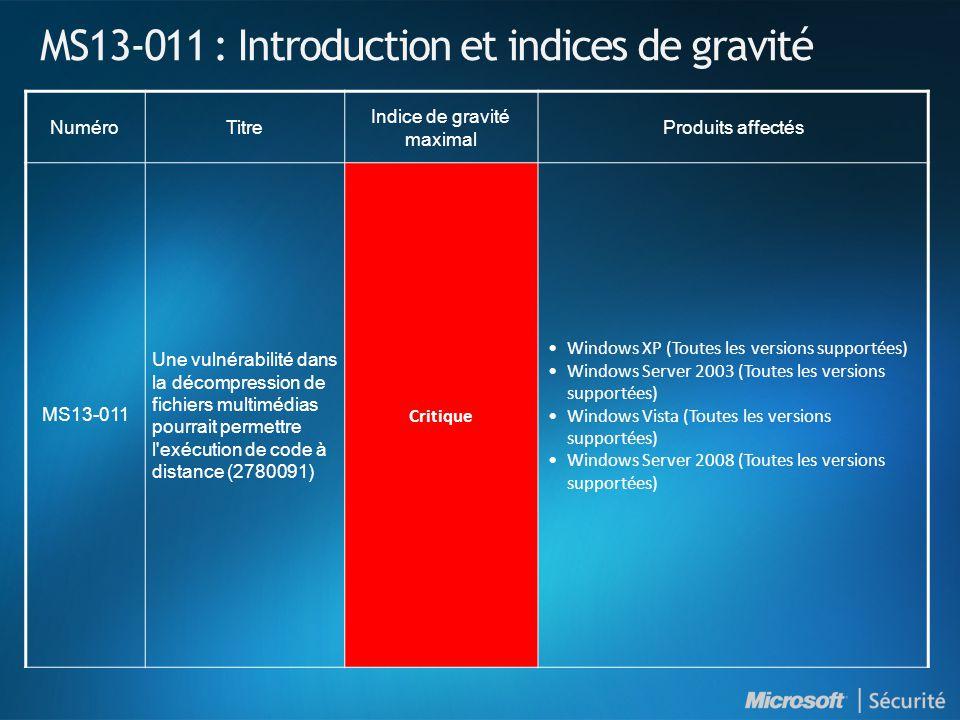 MS13-016 : Des vulnérabilités dans les pilotes en mode noyau de Windows pourraient permettre une élévation de privilèges (2778344) - Important VulnérabilitéVulnérabilités d élévation des privilèges30 CVE allant de CVE-2013-1248 à CVE-2013-1277: Liste complète dans le bulletin Vecteurs d attaque possibles Une application spécialement conçue exécutée localement destinée à augmenter les privilèges.