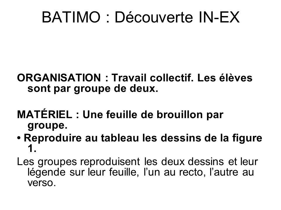 BATIMO : Découverte IN-EX ORGANISATION : Travail collectif. Les élèves sont par groupe de deux. MATÉRIEL : Une feuille de brouillon par groupe. Reprod