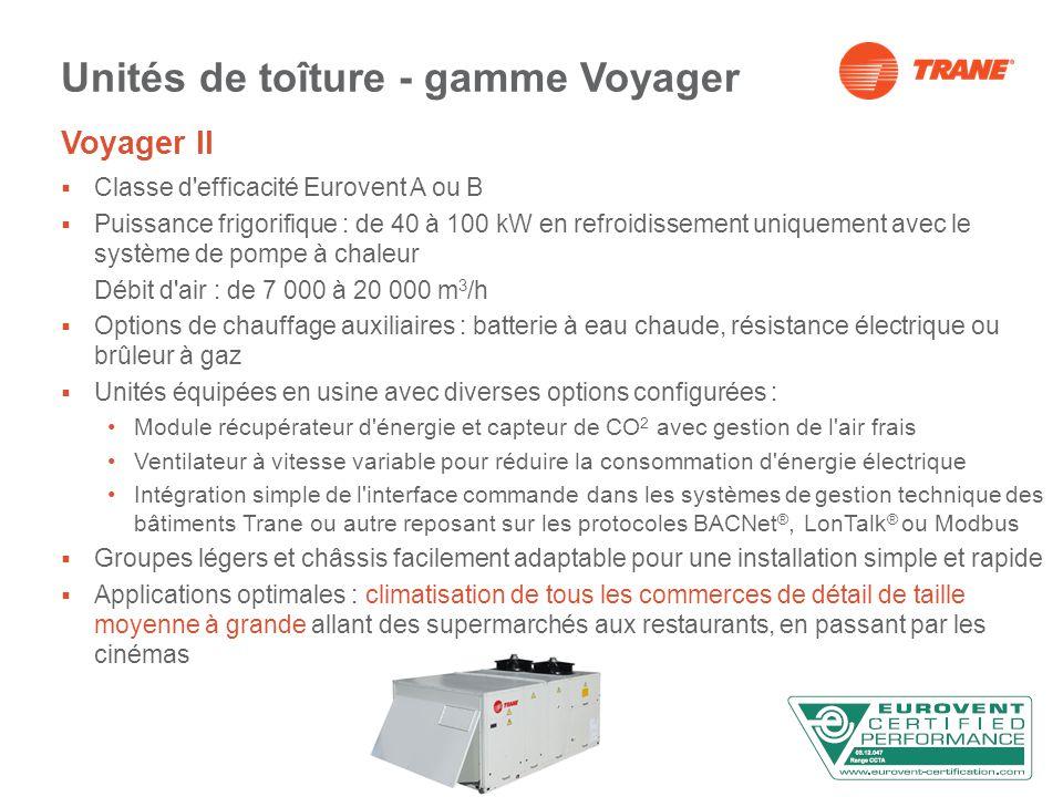 Voyager II Classe d efficacité Eurovent A ou B Puissance frigorifique : de 40 à 100 kW en refroidissement uniquement avec le système de pompe à chaleur Débit d air : de 7 000 à 20 000 m 3 /h Options de chauffage auxiliaires : batterie à eau chaude, résistance électrique ou brûleur à gaz Unités équipées en usine avec diverses options configurées : Module récupérateur d énergie et capteur de CO 2 avec gestion de l air frais Ventilateur à vitesse variable pour réduire la consommation d énergie électrique Intégration simple de l interface commande dans les systèmes de gestion technique des bâtiments Trane ou autre reposant sur les protocoles BACNet ®, LonTalk ® ou Modbus Groupes légers et châssis facilement adaptable pour une installation simple et rapide Applications optimales : climatisation de tous les commerces de détail de taille moyenne à grande allant des supermarchés aux restaurants, en passant par les cinémas Unités de toîture - gamme Voyager