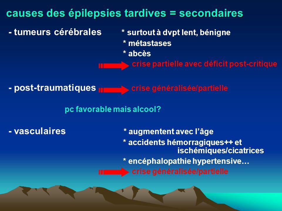 causes des épilepsies tardives = secondaires - tumeurs cérébrales * surtout à dvpt lent, bénigne * métastases * abcès crise partielle avec déficit pos