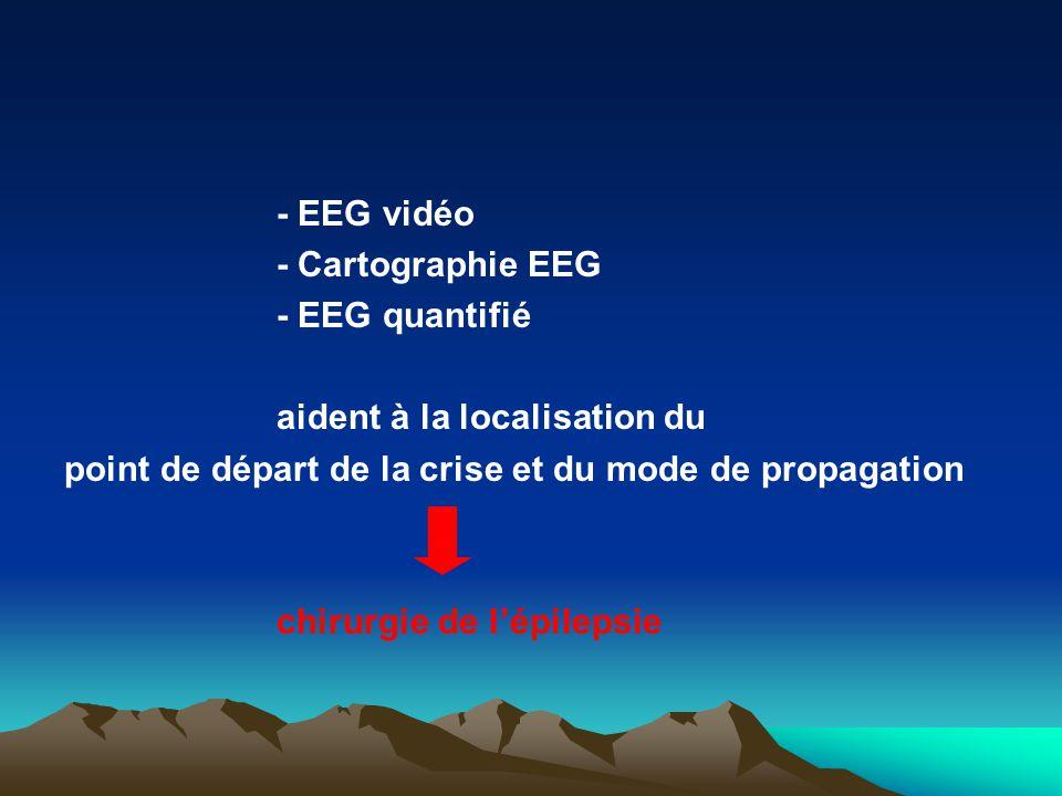 - EEG vidéo - Cartographie EEG - EEG quantifié aident à la localisation du point de départ de la crise et du mode de propagation chirurgie de lépileps