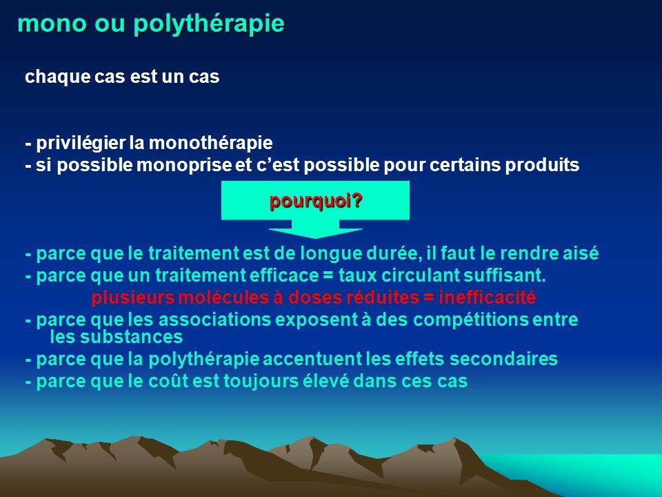 mono ou polythérapie chaque cas est un cas - privilégier la monothérapie - si possible monoprise et cest possible pour certains produits - parce que l