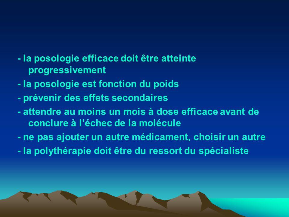 - la posologie efficace doit être atteinte progressivement - la posologie est fonction du poids - prévenir des effets secondaires - attendre au moins