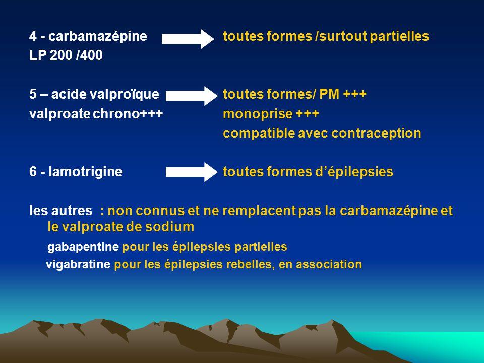 4 - carbamazépine toutes formes /surtout partielles LP 200 /400 5 – acide valproïquetoutes formes/ PM +++ valproate chrono+++monoprise +++ compatible