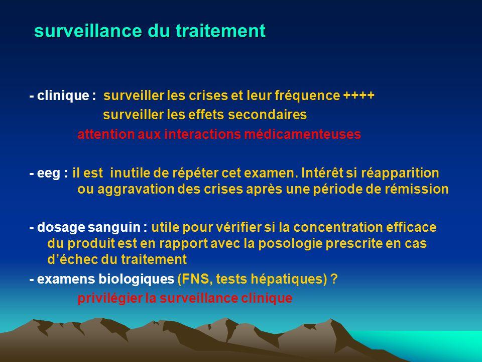 surveillance du traitement - clinique : surveiller les crises et leur fréquence ++++ surveiller les effets secondaires attention aux interactions médi