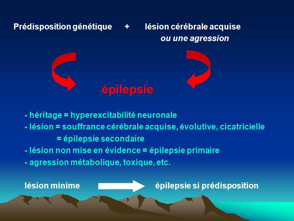 Prédisposition génétique + lésion cérébrale acquise ou une agression épilepsie - héritage = hyperexcitabilité neuronale - lésion = souffrance cérébral
