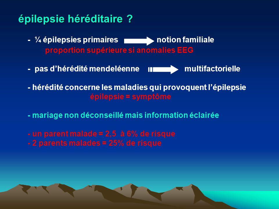 épilepsie héréditaire ? - ¼ épilepsies primairesnotion familiale proportion supérieure si anomalies EEG - pas dhérédité mendeléennemultifactorielle -