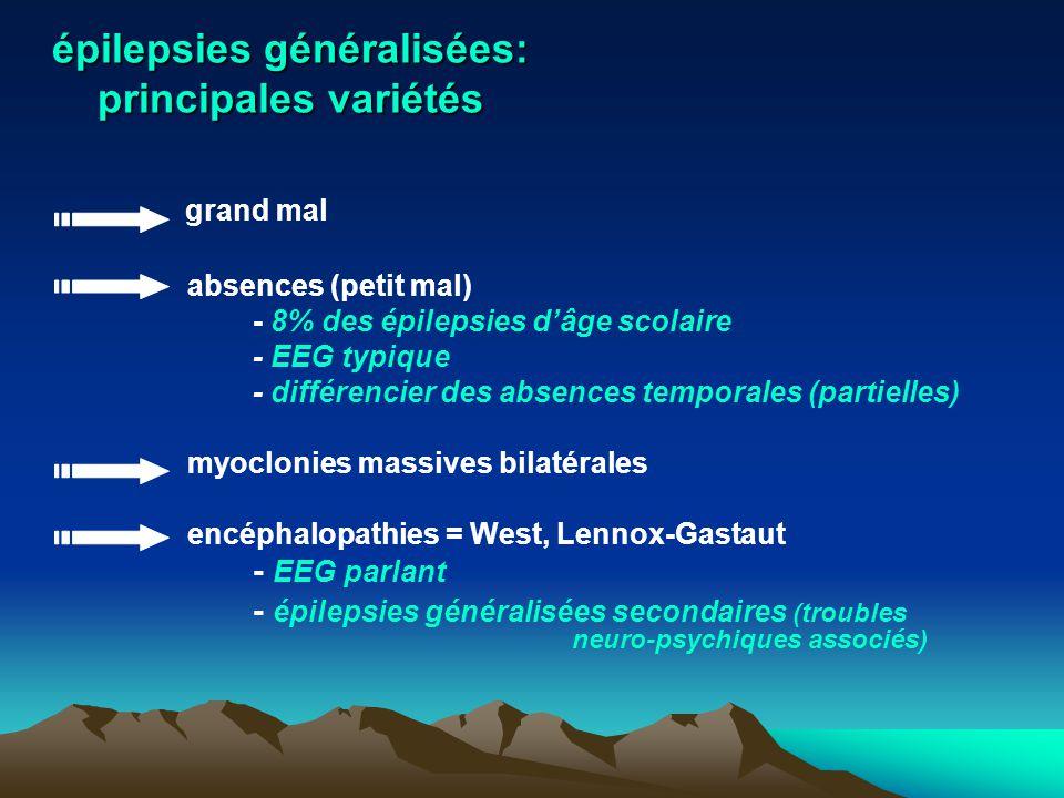épilepsies généralisées: principales variétés grand mal absences (petit mal) - 8% des épilepsies dâge scolaire - EEG typique - différencier des absenc