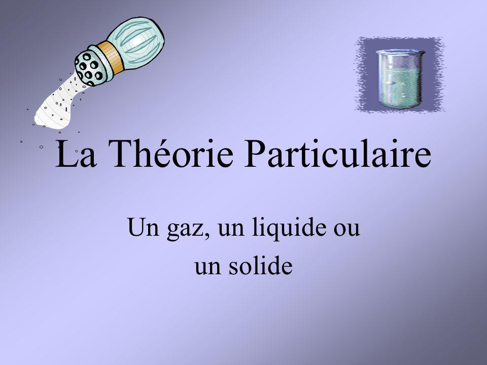 Les trois états de la matière Un gaz- une substance est gazeuse lorsquelle na ni volume ni forme definis (par example: Oxygene) Un solide- une substance qui a un forme et un volume definis (Par example: du sucre) Un liquide- une substance qui a un volume definis mais pas de forme definis (Par example: leau)
