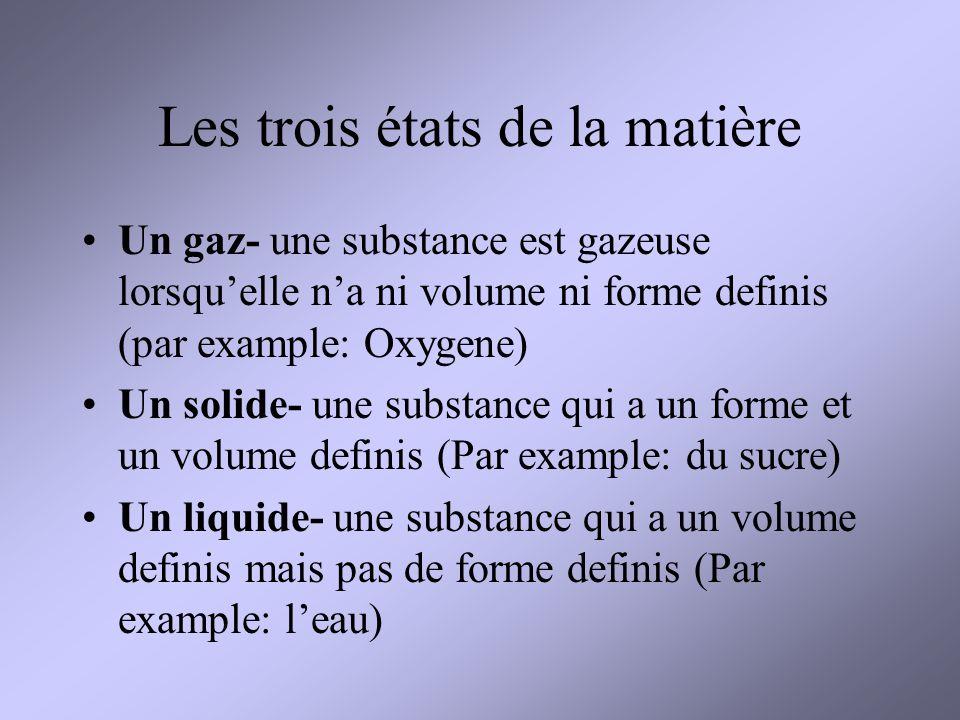 Les trois états de la matière Un gaz- une substance est gazeuse lorsquelle na ni volume ni forme definis (par example: Oxygene) Un solide- une substan