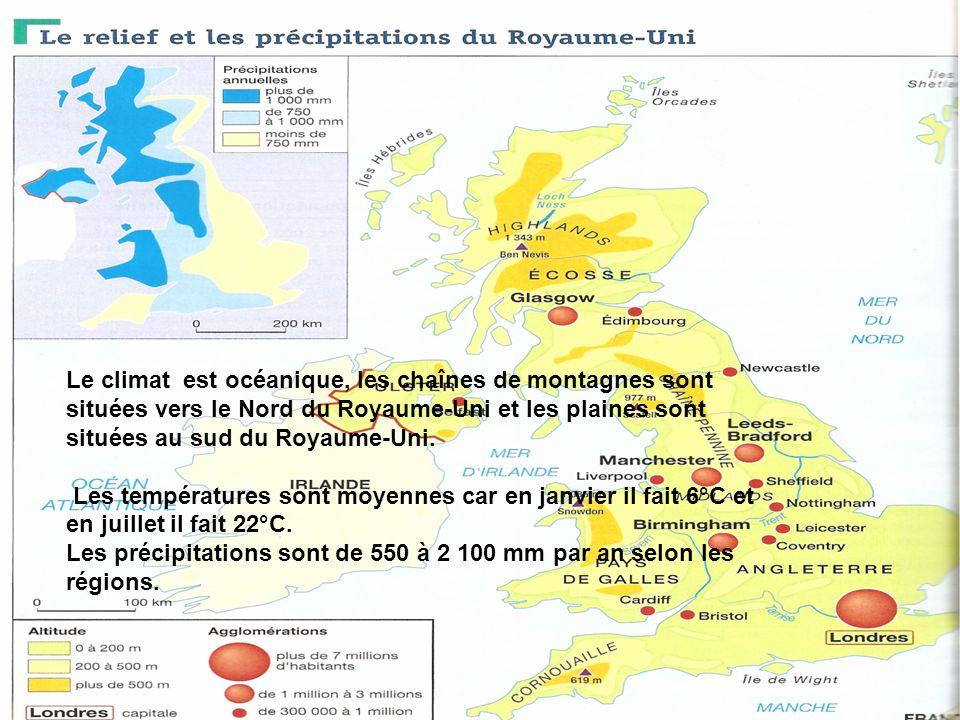 Le climat est océanique, les chaînes de montagnes sont situées vers le Nord du Royaume-Uni et les plaines sont situées au sud du Royaume-Uni. Les temp