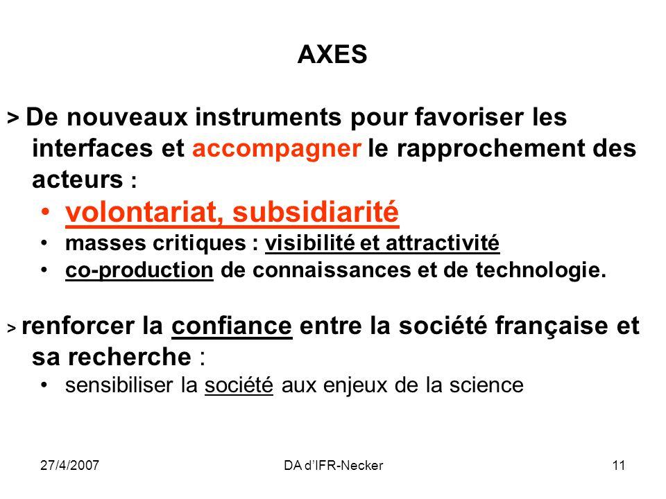 27/4/2007DA dIFR-Necker11 AXES > De nouveaux instruments pour favoriser les interfaces et accompagner le rapprochement des acteurs : volontariat, subsidiarité masses critiques : visibilité et attractivité co-production de connaissances et de technologie.