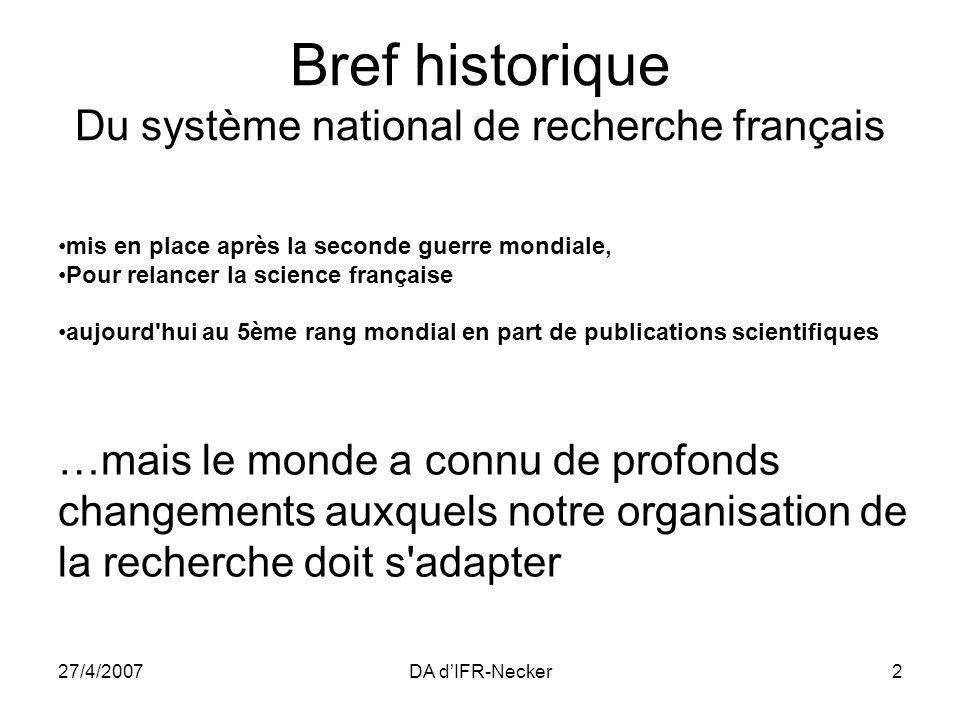 27/4/2007DA dIFR-Necker2 mis en place après la seconde guerre mondiale, Pour relancer la science française aujourd'hui au 5ème rang mondial en part de