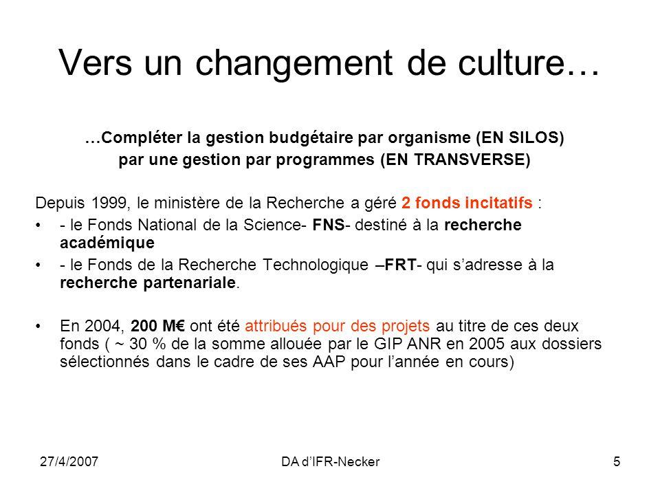 27/4/2007DA dIFR-Necker5 Vers un changement de culture… …Compléter la gestion budgétaire par organisme (EN SILOS) par une gestion par programmes (EN TRANSVERSE) Depuis 1999, le ministère de la Recherche a géré 2 fonds incitatifs : - le Fonds National de la Science- FNS- destiné à la recherche académique - le Fonds de la Recherche Technologique –FRT- qui sadresse à la recherche partenariale.