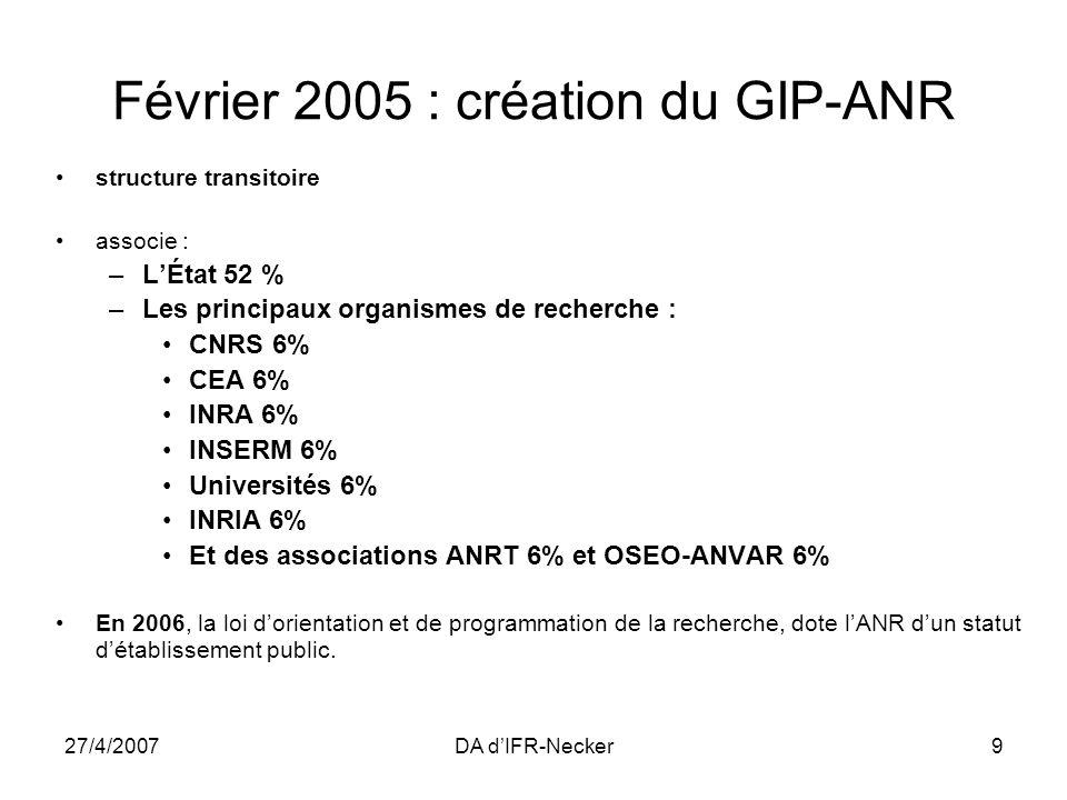 27/4/2007DA dIFR-Necker9 Février 2005 : création du GIP-ANR structure transitoire associe : –LÉtat 52 % –Les principaux organismes de recherche : CNRS
