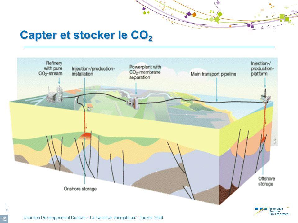© IFP Direction Développement Durable – La transition énergétique – Janvier 2008 19 Capter et stocker le CO 2