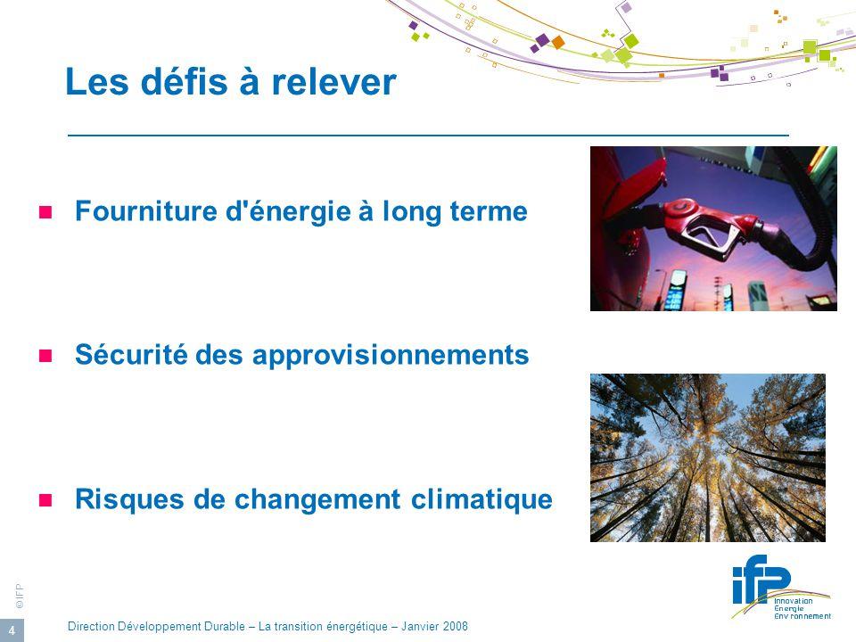 © IFP Direction Développement Durable – La transition énergétique – Janvier 2008 4 Les défis à relever Fourniture d énergie à long terme Sécurité des approvisionnements Risques de changement climatique