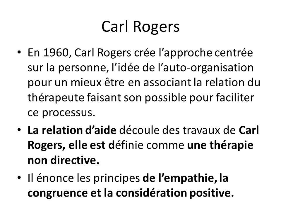 Carl Rogers En 1960, Carl Rogers crée lapproche centrée sur la personne, lidée de lauto-organisation pour un mieux être en associant la relation du th