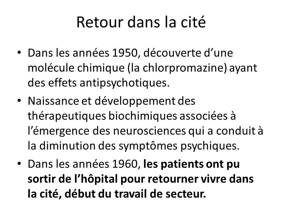 Retour dans la cité Dans les années 1950, découverte dune molécule chimique (la chlorpromazine) ayant des effets antipsychotiques. Naissance et dévelo