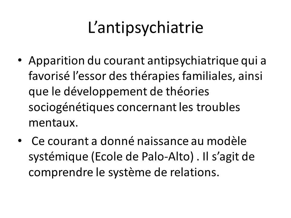 Lantipsychiatrie Apparition du courant antipsychiatrique qui a favorisé lessor des thérapies familiales, ainsi que le développement de théories sociog