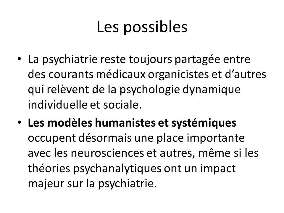 Les possibles La psychiatrie reste toujours partagée entre des courants médicaux organicistes et dautres qui relèvent de la psychologie dynamique indi