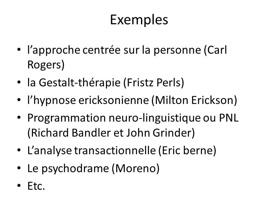 Exemples lapproche centrée sur la personne (Carl Rogers) la Gestalt-thérapie (Fristz Perls) lhypnose ericksonienne (Milton Erickson) Programmation neu