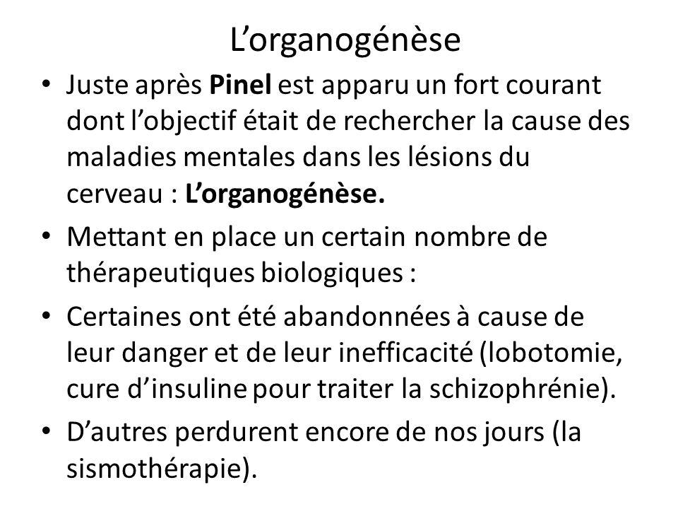 Lorganogénèse Juste après Pinel est apparu un fort courant dont lobjectif était de rechercher la cause des maladies mentales dans les lésions du cerve