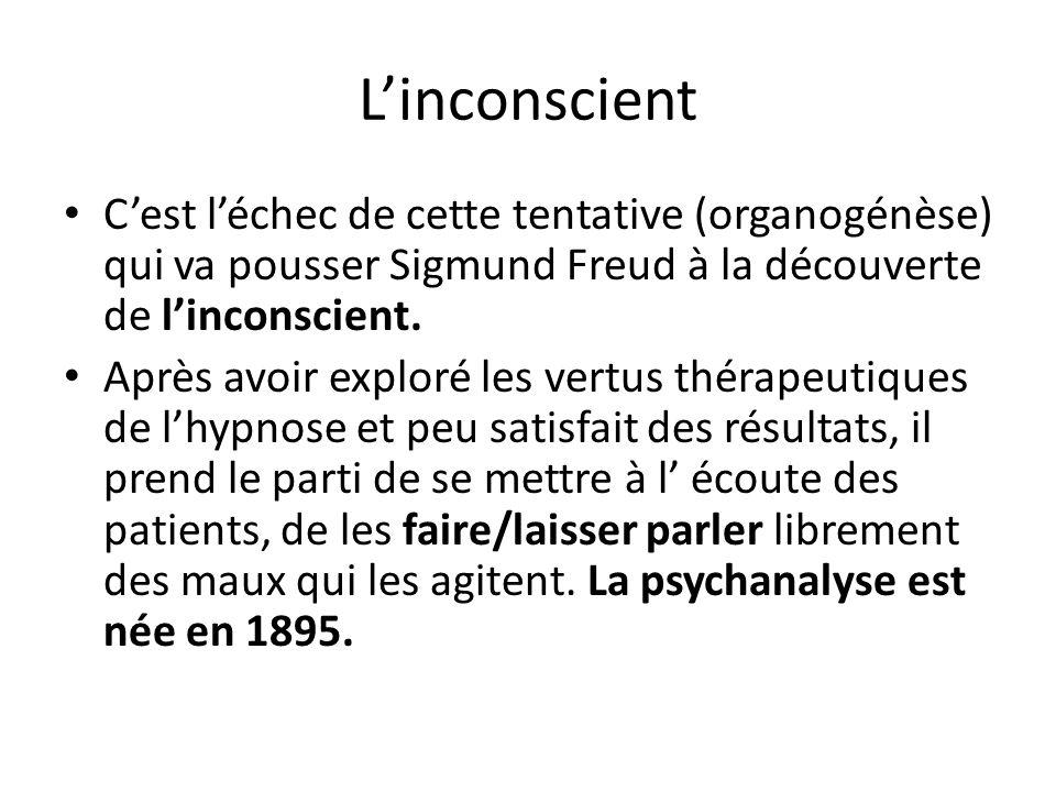 Linconscient Cest léchec de cette tentative (organogénèse) qui va pousser Sigmund Freud à la découverte de linconscient. Après avoir exploré les vertu