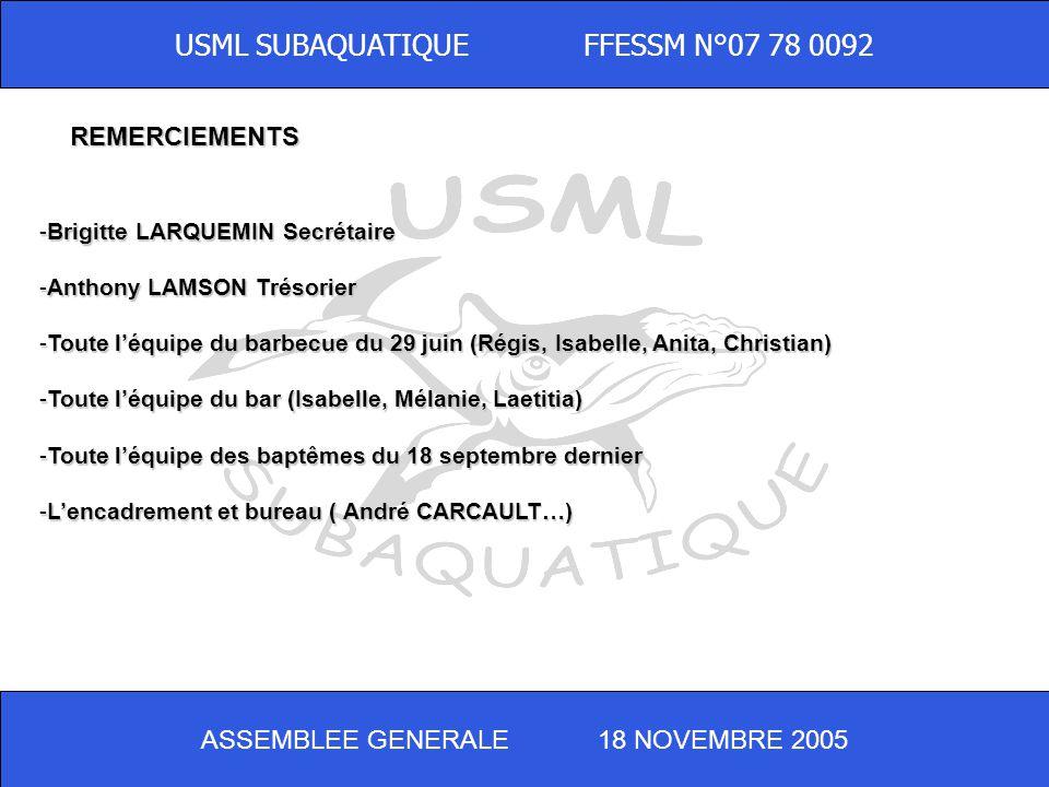 ASSEMBLEE GENERALE 18 NOVEMBRE 2005 USML SUBAQUATIQUE FFESSM N°07 78 0092 FELICITATIONS - Bernard HIRTZ Moniteur Fédéral 1 er degré -Isabelle BEAUMARD