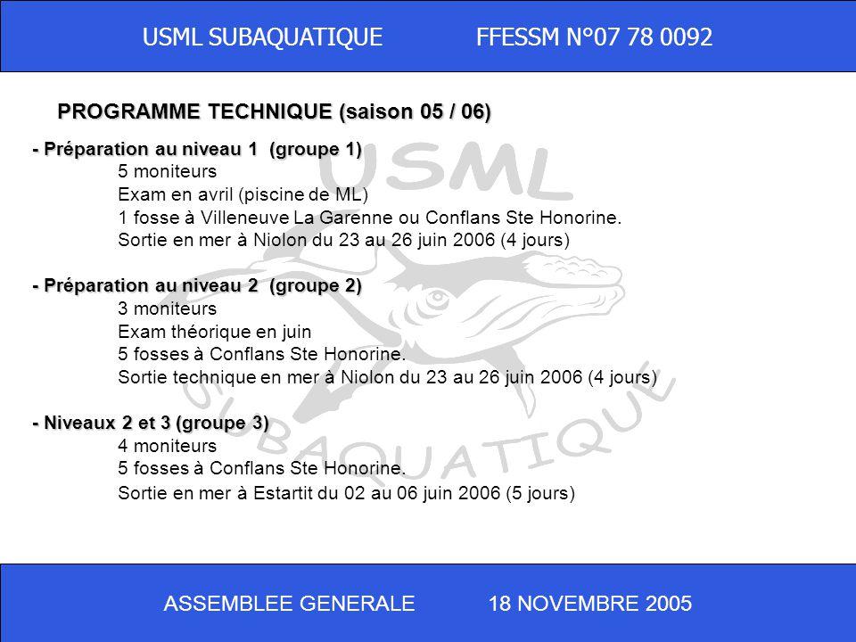 ASSEMBLEE GENERALE 18 NOVEMBRE 2005 USML SUBAQUATIQUE FFESSM N°07 78 0092 - Préparation au niveau 1 (groupe 1) 5 moniteurs Exam en avril (piscine de ML) 1 fosse à Villeneuve La Garenne ou Conflans Ste Honorine.